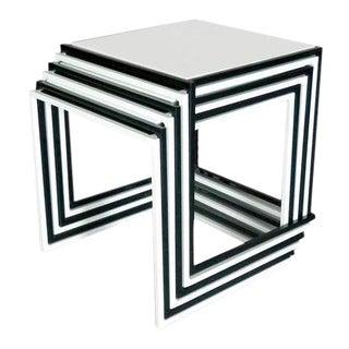 Nest of Six Steel Cube in Door - Out Door Side Tables
