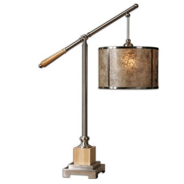 Image of Brushed Aluminum Swing Arm Lamp with Mica Shade