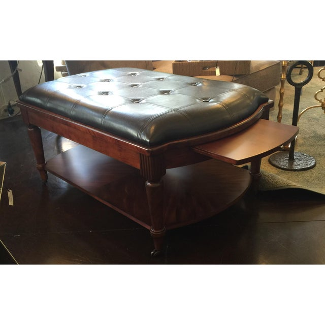 Coffee table tufted leather ottoman chairish Leather tufted ottoman coffee table