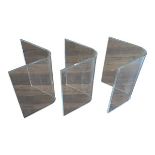 (3) Lucite Mid Century Boomerang Table Bases
