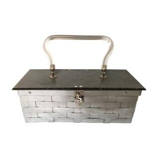 Mid-Century Lucite Silver Basketweave Purse