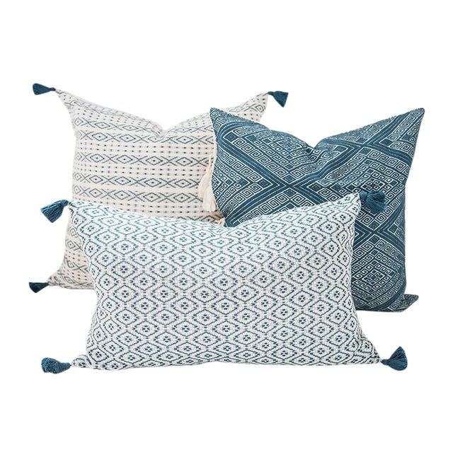 Teal Handwoven Mexican Pillows - Set of 3 - Image 1 of 6