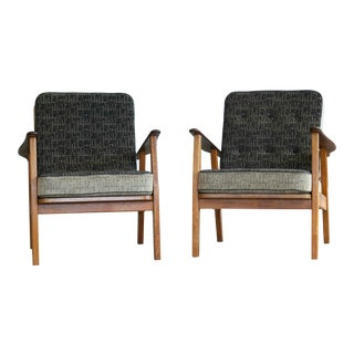 1950's Hans Wegner Style Danish Teak Easy Chairs - A Pair