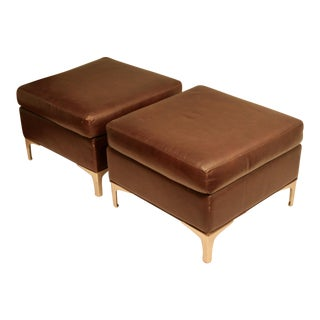 Faux Leather Ottomans with Modernist Brushed Steel Legs - A Pair