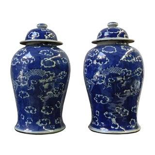 Dark Blue White Dragons Porcelain Jars - Pair