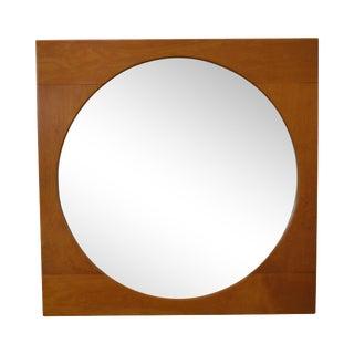 Mid Century Modern Square Maple Frame Round Mirror