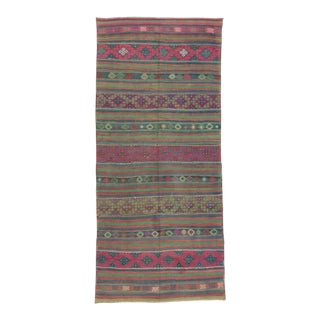 "Handwoven Vintage Colorful Turkish Kilim Rug - 5'3"" X 11'10"""