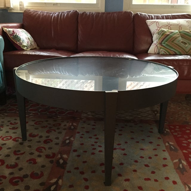 Crate & Barrel Round Metal Coffee Table - Image 2 of 5