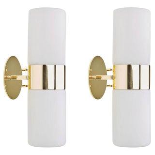 Pair of Brass and Glass Stilnovo Sconces