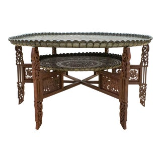 Moroccan Tea Table, Carved Wood & Copper Two Tray Table
