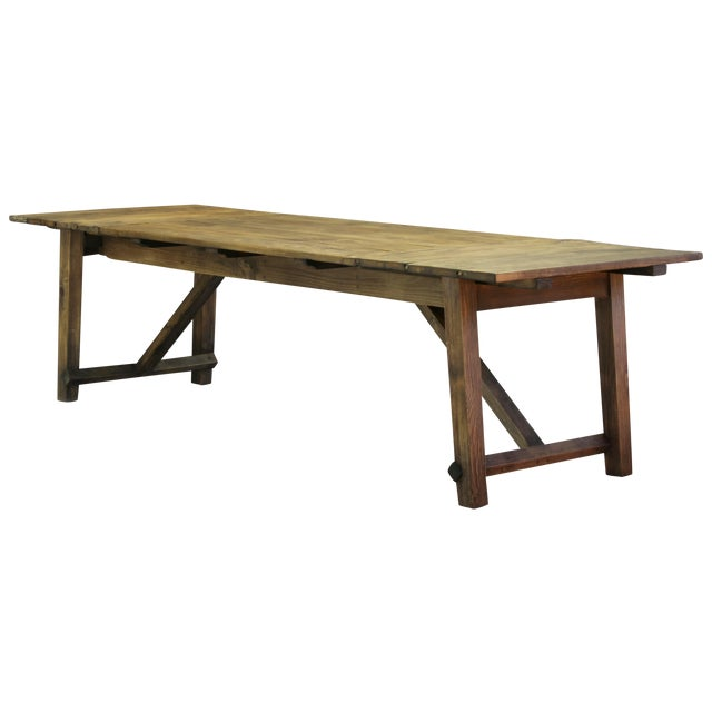 Primitive Kitchen Table And Chairs: Primitive Artist's Work Bench Dining Table
