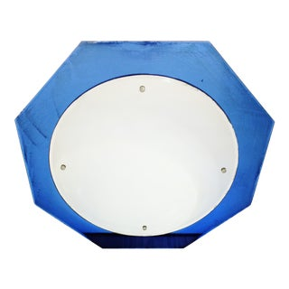 Art Deco Cobalt Blue Octagon Beveled Glass Wall Mirror