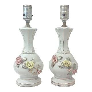 Cordey Porcelain Pastel Roses Accent Lamps - Pair