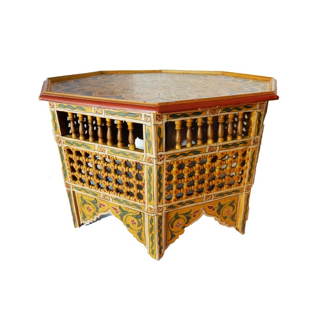 Moroccan 8 sided coffee table chairish Moroccan coffee tables