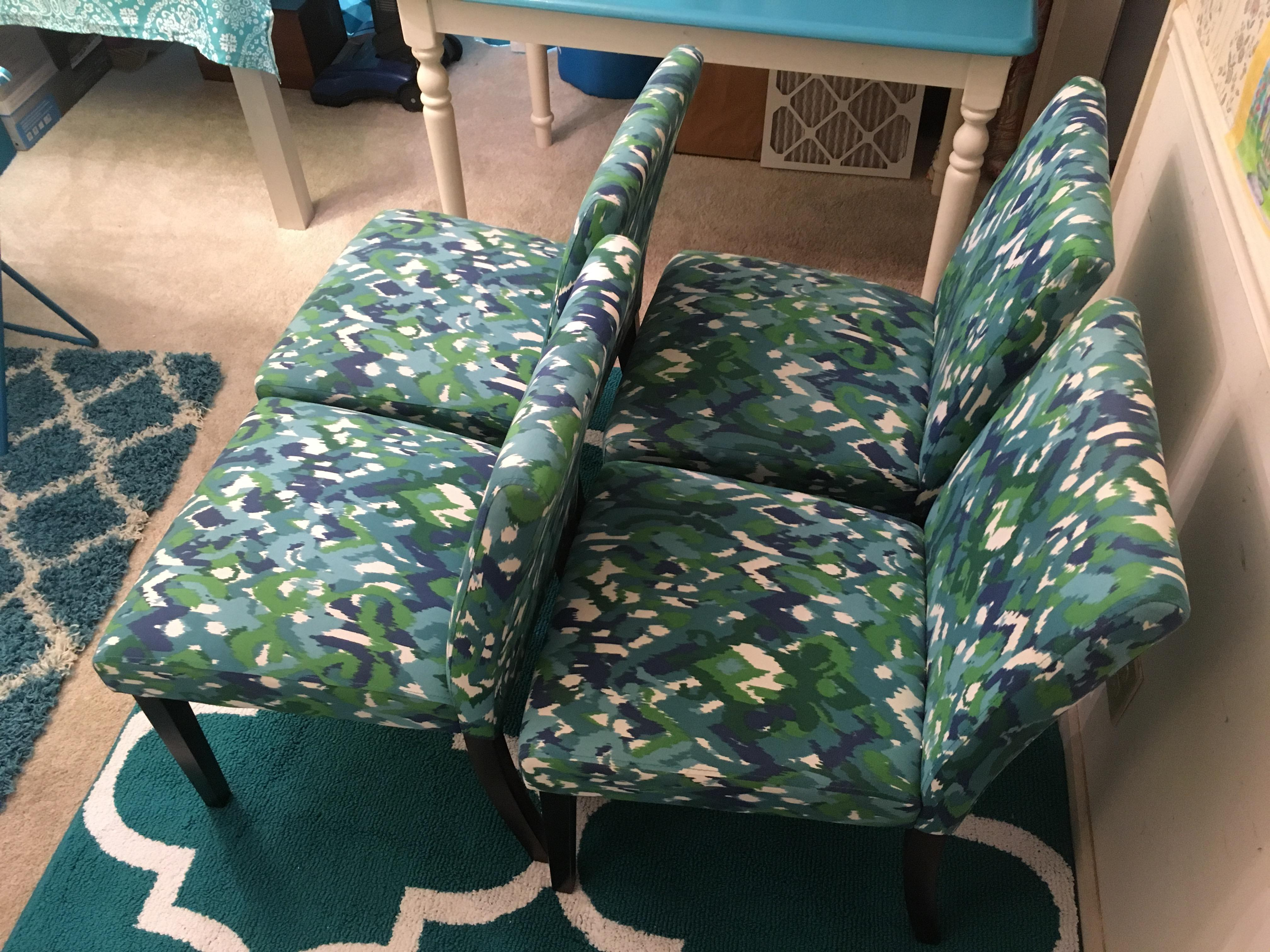 Teal Ikat Design Parsons Fabric Chairs Set of 4