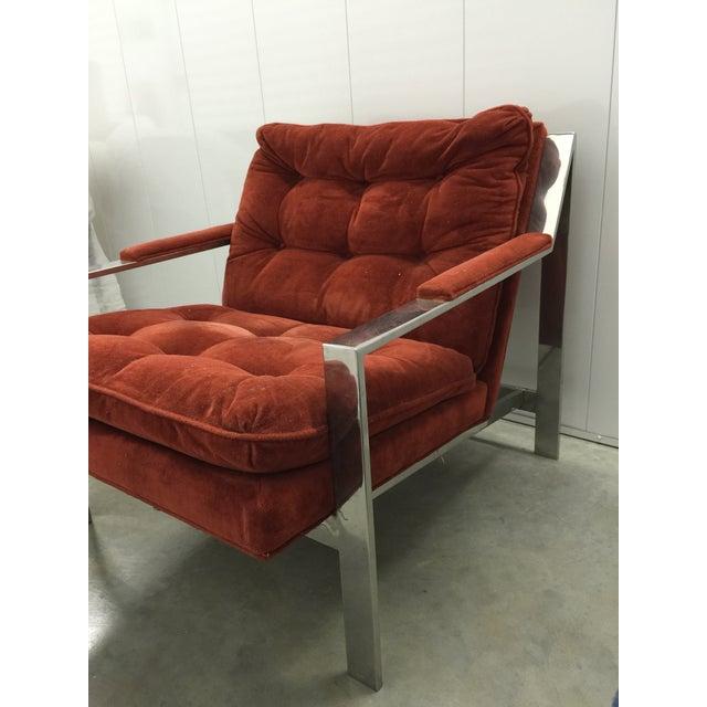Milo Baughman Chrome and Velvet Lounge Chair - Image 4 of 7