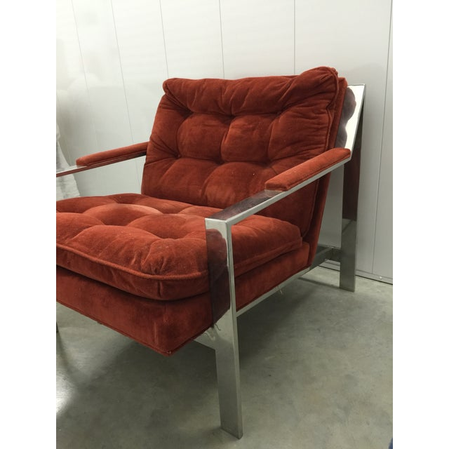 Image of Milo Baughman Chrome and Velvet Lounge Chair