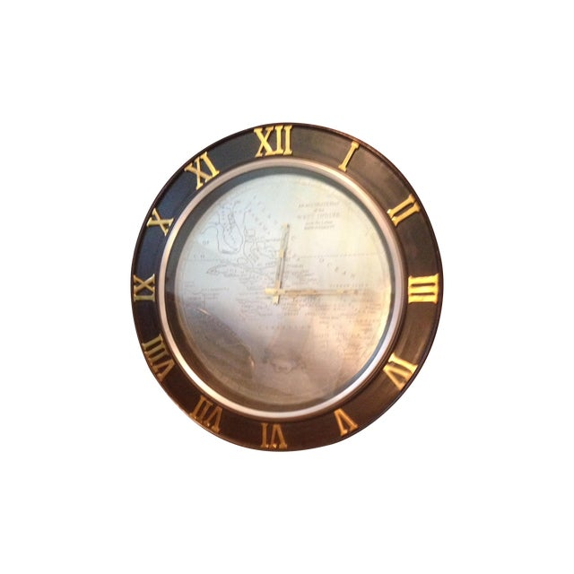 Uttermost Wall Clock, Engraved Map of West Indies - Image 1 of 5