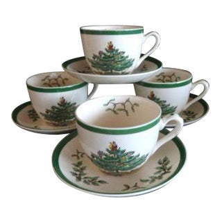 Authentic Spode 'Christmas Tree' Cups & Saucers - Set of 4