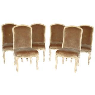 Velvet & Reclaimed Wood Dining Chairs - Set of 6