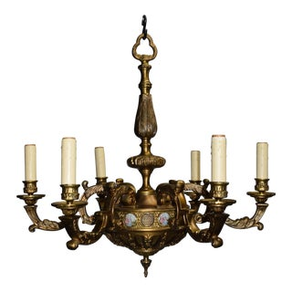 Antique chandlier, bronze with porcelain