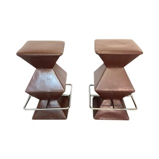 Vintage Leather and Chrome Barstools