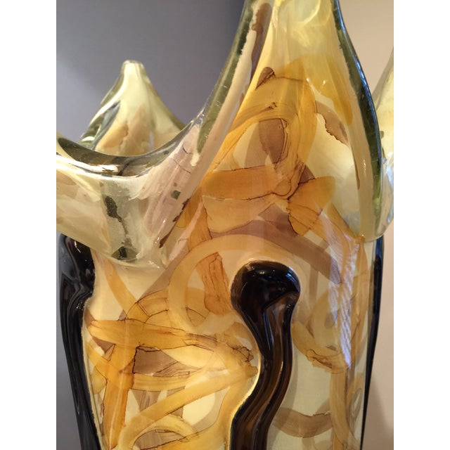 Golden Art Glass Vase - Image 4 of 5