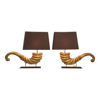Pair of French Gilded Cornucopia Lamps