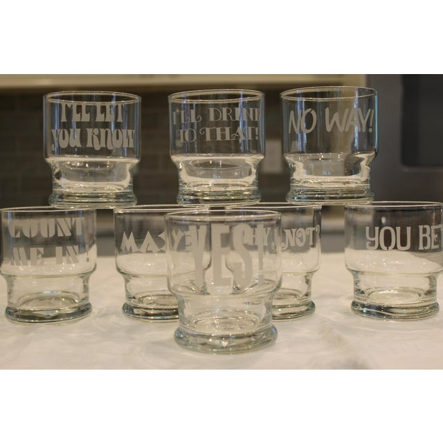 1970s Rocks Glasses with Etched Sayings - Set of 8 - Image 5 of 9