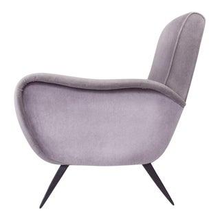 Restored Mid-Century Modern Italian Velvet Armchair