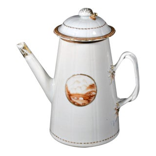 Chinese Export American Market Porcelain Lighthouse Coffee Pot and Cover