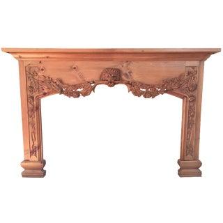 Carved Wooden Lion Mantel