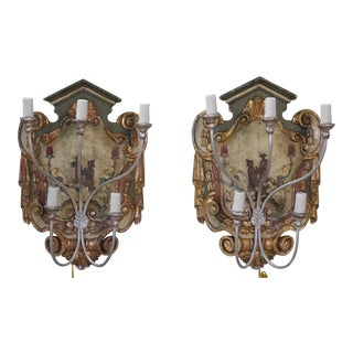 Chinoiserie Painted 5-Light Sconces - A Pair