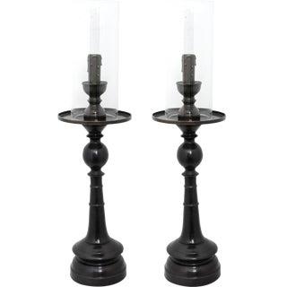 Bronze Candlestick Lamps - A Pair