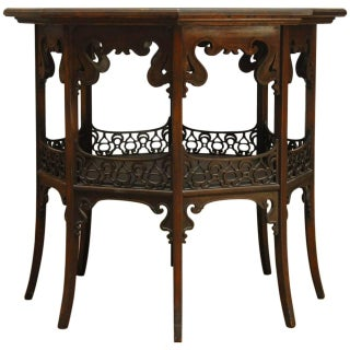 Middle Eastern Octagonal Relief Carved Top Table