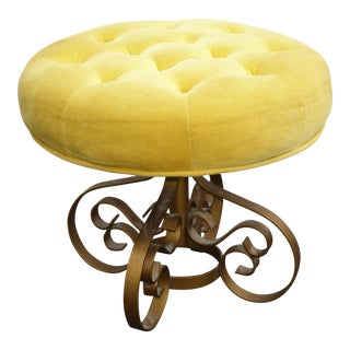 Hollywood Regency Yellow Velvet & Gold Metal Stool