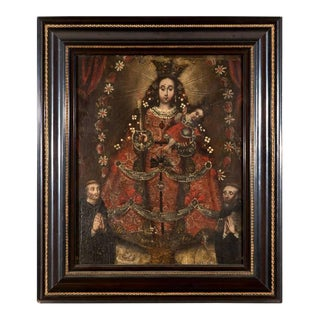 Portrait Madonna and Child with Two Priests/Saints, Escuela Cuzqueña - early 17th century
