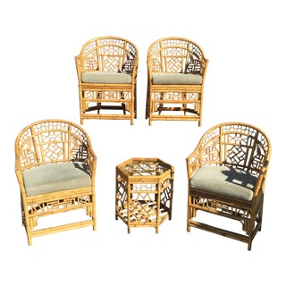 4 Chinese Chippendale Bamboo Chairs and Small Table