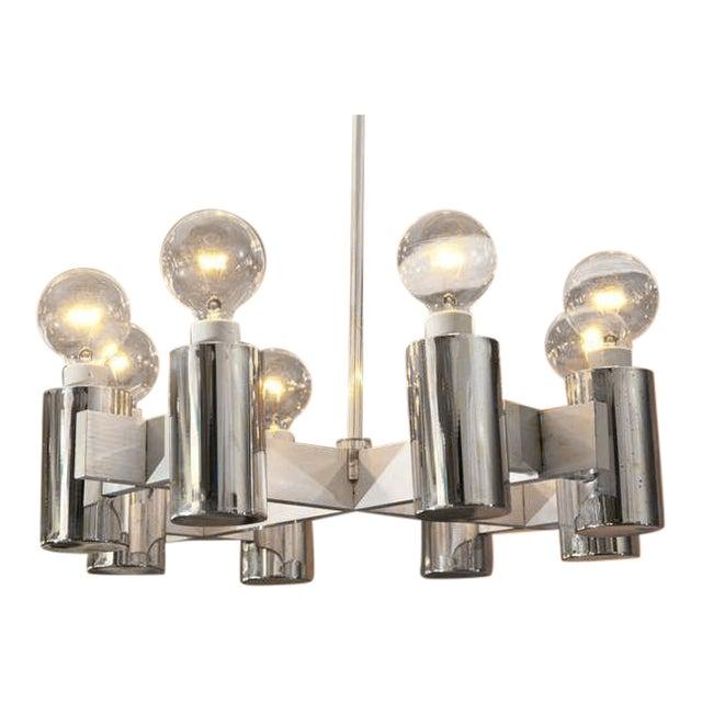 1960's Brushed Steel Lightolier Chandelier - Image 1 of 7