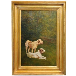 French Dog Oil Painting on Canvas circa 1900 in Antique Giltwood Frame