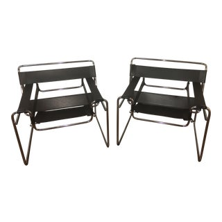 Black Wassily Style Chairs - A Pair