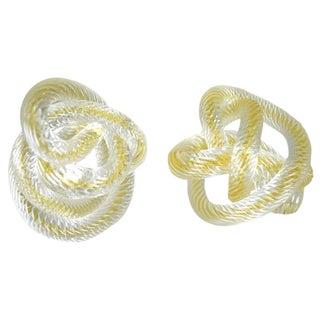 Signed Zanetti Murano Glass Knots - A Pair