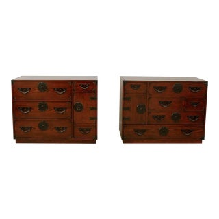 Amazing Pair of Vintage Modern Tansu Chests by Baker