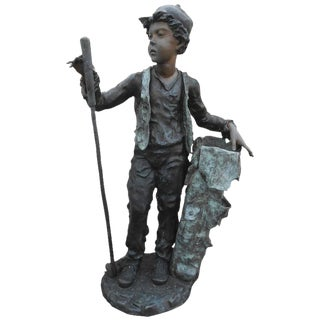 Sculptural Bronze Caddy Statue