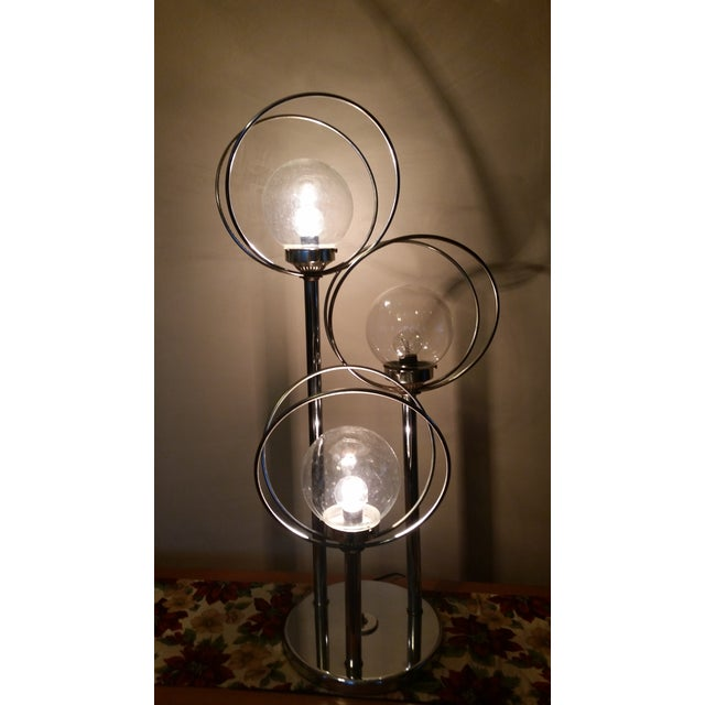 Mid Century 3 Way Chrome Lamp with Clear Bulbs - Image 6 of 6
