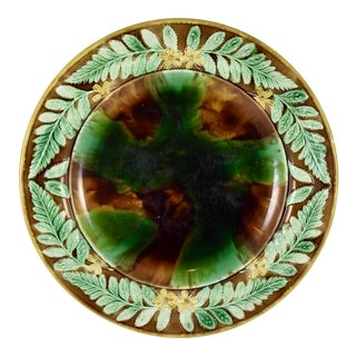 English Majolica Cheese Tray, Tortoiseshell w/ Butter Cup & Fern Leaf Border