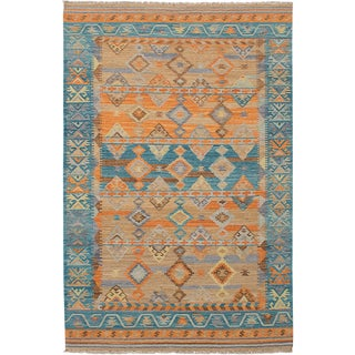 "Turkish Orange and Blue Boho Chic Kilim Rug - 60"" x 96"""
