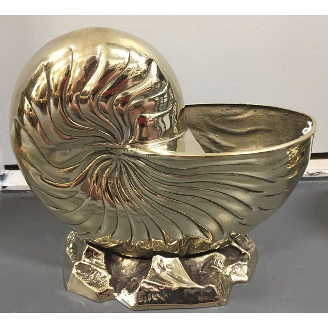 Image of Vintage Brass Nautilus Shell Planters - A Pair