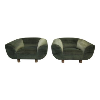 Mid-Century Polar Bear Style Barrel Chairs After Jean Royere - A Pair