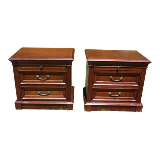 Ethan Allen Solid Cherry Bedside Chest of Drawers Nightstands End Tables - a Pair